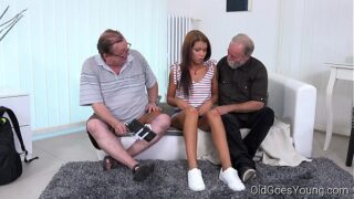 Teen Sofia gets fucked by two old guys
